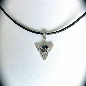 Celtic Triquetra Swarovski Emerald Crystal Pendant, LOTR, Celtic Symbol, Irish Jewelry, Birthstones, Sister Friendship Jewelry