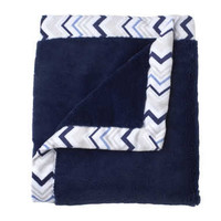 Triboro Just Born Cuddle Plush Blanket w/ Printed Valboa Border (Navy)