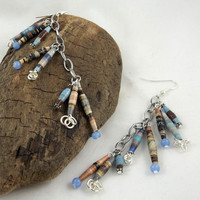 Blue and Brown Paper Chandelier Earrings ooak by theotherstacey