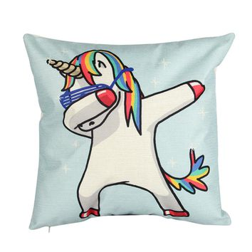 Einhorn Dab Gesture Printed Pillow Cover 43x43CM Square Cotton Linen Throw Waist Neck Cushion Pillowcases for Home Decoration
