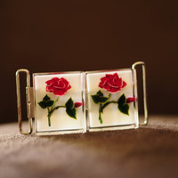 Beautiful Embedded Lucite Rose Belt Buckle