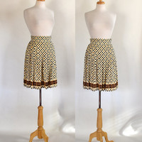 60s Polyester Skirt / Pleated Skirt / 60s Novelty Print Skirt / Modernist Skirt / Mad Men Skirt