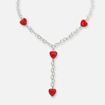 descent Sterling Silver Crystal Heart Y Necklace (Red)