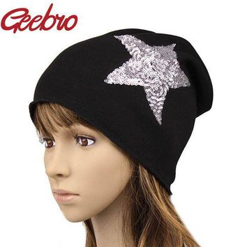 PEAPUNT Geebro Female Solid Star Knitted Hat Girls Sequins Cap Women Slouchy Baggy Autumn Winter Warm Beanies & Skullies Headwear JS259