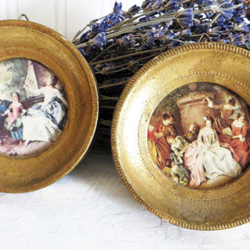 Accent Wall Pictures Round Small Gold Gilded Frames Italy Set of Two