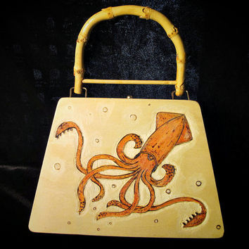 Squid Purse Steampunk Cigar Box Style Wooden Original art Cephalopod
