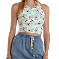 White Combo Floral Print Caged Back Crop Top by Charlotte Russe