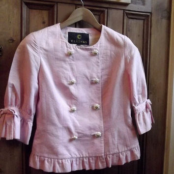 womens vintage jacket light coat pink white pin uk 12 us 10 stripes ornate buttons clathas fitted day evening bow frill