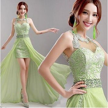 Fashionable Green Cutout Neck Embroidery Short Front and Long Back with Detachable Train Homecoming Dress/ Cocktail Gown 719