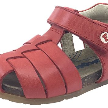 Naturino Falcotto Boy's & Girl's Red Smooth Leather Fisherman Sandals with Hook and Loop Strap