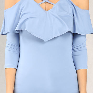 Strappy Open-Shoulder Flounce Top