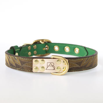 Emerald Green Dog Collar with Dark Brown Leather + Yellow and Tan Stitching
