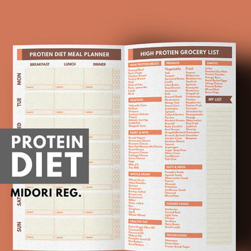 Midori Meal Planner, Weight Loss Planner, Protein Diet Meal Planner & Grocery list Printable, Midori Insert, Midori Refill, Healthy Habits