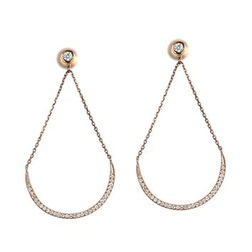 0.69ct Round Diamonds in 14K Rose Gold Hollow Crescent Moon Dangle Earrings
