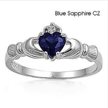 Fashion Lady's Heart Sapphire jewelry 925 sterling silver ring size 7 8 9 FREE SHIPPING