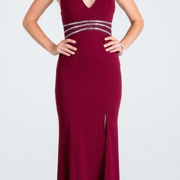 V-Neck Halter Long Formal Dress Burgundy with Slit