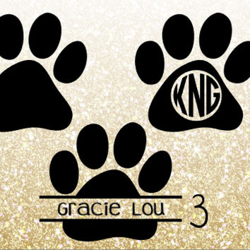 Paw Print Monogram Decal For Yeti Tumblers, Cars, and Tech Devices