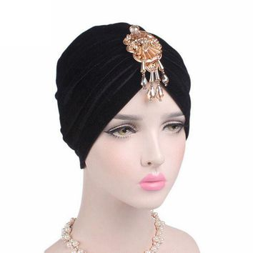 ESB1ON Velvet Women Skullies	Cancer Chemo Hat New Arrival Women Beanie Turban Head Beautiful Bead Pendant Wrap Cap