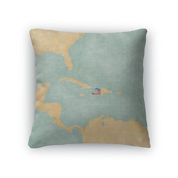 Throw Pillow, Map Of Caribbean Haiti Vintage Series