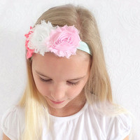 Coral, White, Pink Baby, Child Headband, Stretchy Floral Headband, Hair Accessories Shabby Chic, Infant Headband, Newborn, Baby Gift Ideas.