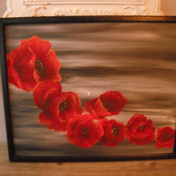 SALE Stunning Large POPPIES Painting Acrylic on Stretched canvas ~~ framed ... Red Gray Black Dramatic Statement Wall Art