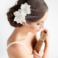 "Birdcage Veil with Flowers 9"" - Bandeau Birdcage Veil - Wedding Mini Veil - Magnolia Flower - Wedding Hair Accessories"