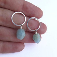 Aquamarine Dangle Earrings - Sterling Silver Circle Studs - Gemstone Hoop Earrings