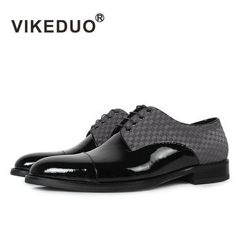Superstar Vikeduo Flat Classic Men's Derby Shoes Custom Made 100% Genuine Leather Dress Party Lace-up Black Original Design