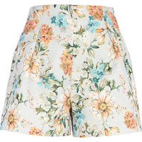 River Island Womens Light grey floral print high waisted shorts