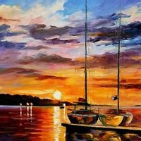 "BY THE DOCK — Palette Knife Oil Painting On Canvas By Leonid Afremov 30""x36"""