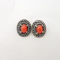 Vintage MIRACLE Red Faux Coral Ear Clips, Old Ornate Miracle Earrings, UK Seller