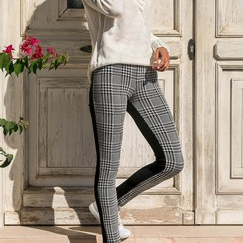 Black Plaid High Waisted Casual Sweet Going out Long Pants