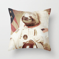 Sloth Astronaut Throw Pillow by Bakus | Society6