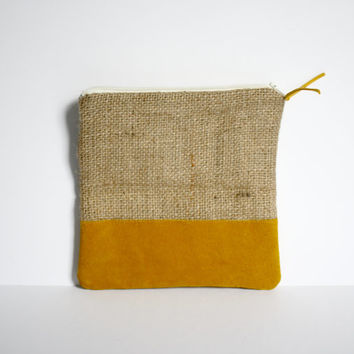 Small Repurposed burlap coffee bag with mustard yellow suede