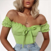 Sexy tights avocado green black white bow off the shoulder T-shirt [4207068643425]