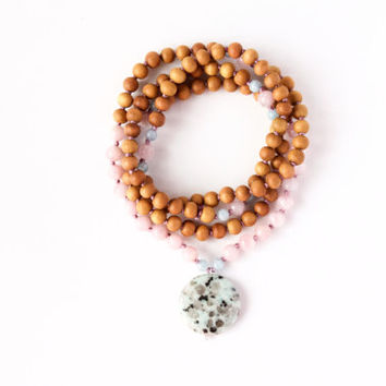 I Am a Nurturer Mala -- 108 Hand-Knotted Mala with Sandalwood, Rose Quartz, Aquamarine, and Kiwi Jasper