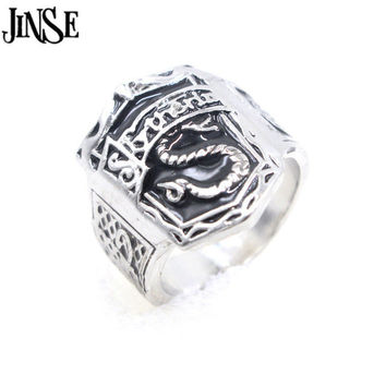 JINSE Harry Potter School Metal Snake Black Enamel Finger Rings High Quality PartyPunk Maxi Men CocktailRing RNS019