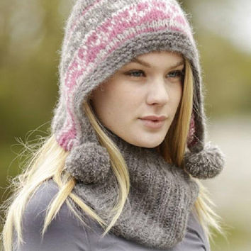 Pompom hat, winter set, nordic hat, knitted hood women hat, neck warmer, bonnet jacquard, fair isle hat, mohair alpaca silk,Handmade Lilith