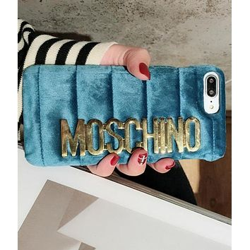 Moschino iPhone 7  8 iPhone 7 8 plus - Popular Cute Metal Logo Phone Case For iphone 6 6plus  iphone X Blue
