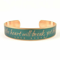 Skinny Cuff Bracelet - Lord Byron Book Jewelry - Turquoise Jewelry - Love Poem Quote