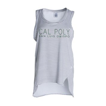 Official NCAA California Polytechnic State University Cal Poly SLO Musty Mustang Women's Stripe Ath Lesiure Tank Top