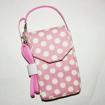 iPhone Droid Smartphone iPod Evo Cell Phone Blackberry Mini Purse Pouch Cross Body Strap: Polka Dots Pink White Clearance 50% Off
