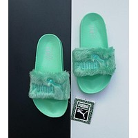 """PUMA"" Rihanna Fenty Leadcat Stylish Ladies Pure Color Fur Sandals Slipper Shoes Mint Green I"