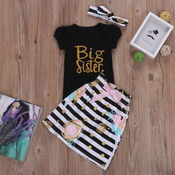 US Seller Matching Clothes Big Sister T-shirt Little Sister Romper Pants Outfits