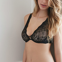 Semi-Sheer Lace Plunge Bra