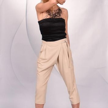 Cream Harem Pants/ Woman Casual Extravagant Stylish Drop-Crotch Trousers/ Loose/ Cotton-Blend