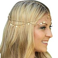 Bling Retro Fashion Chain Jewelry Chain Headband Head shiny Piece Hair Band Tassels