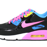 Nike Youth Air Max 90 LTR GS Black/Pink Running Shoes 724852 004