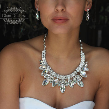 wedding jewelry set, Bridal jewelry set, Bridal backdrop bib Marquise Crystal necklace earrings, bridal necklace statement, Ballroom jewelry