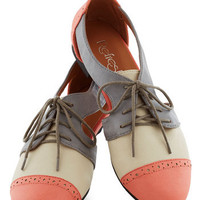 Cutout and About Town Flat in Coral | Mod Retro Vintage Flats | ModCloth.com